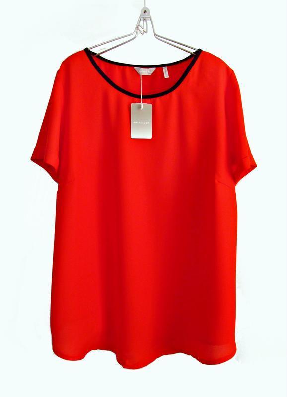 Ярко-красная шифоновая блуза с контрастным воротом р.24