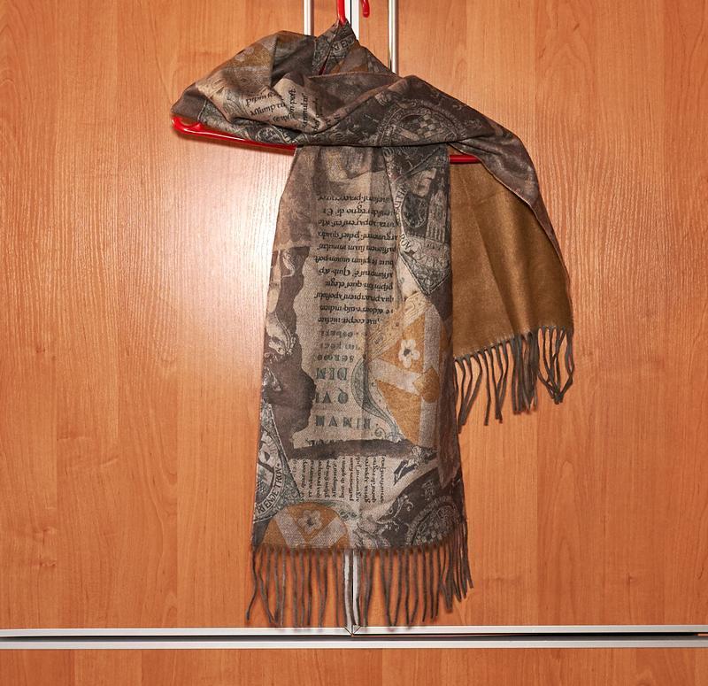 Мужской шарф двухстороннийс красивым рисунком,с бахромой.