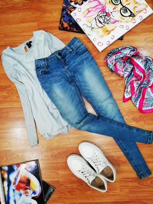 Женские крутые фирменные джинсы скинни fishbone - размер 44