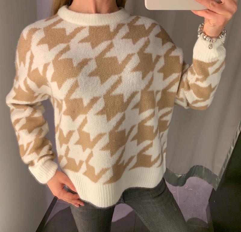 Тёплый свитер в гусиную лапку пуловер с шерстью кофта amisu ес...