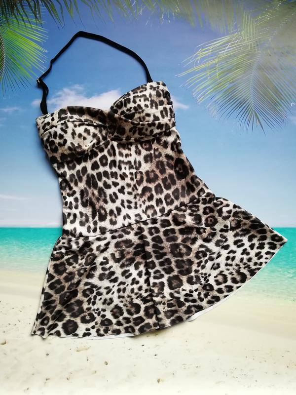 Купальник-платье купальник с юбкой леопард