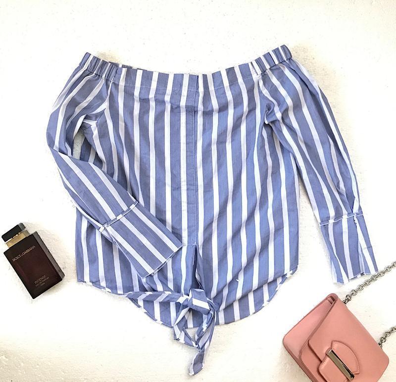 Шикарная актуальная блуза в полоску mango