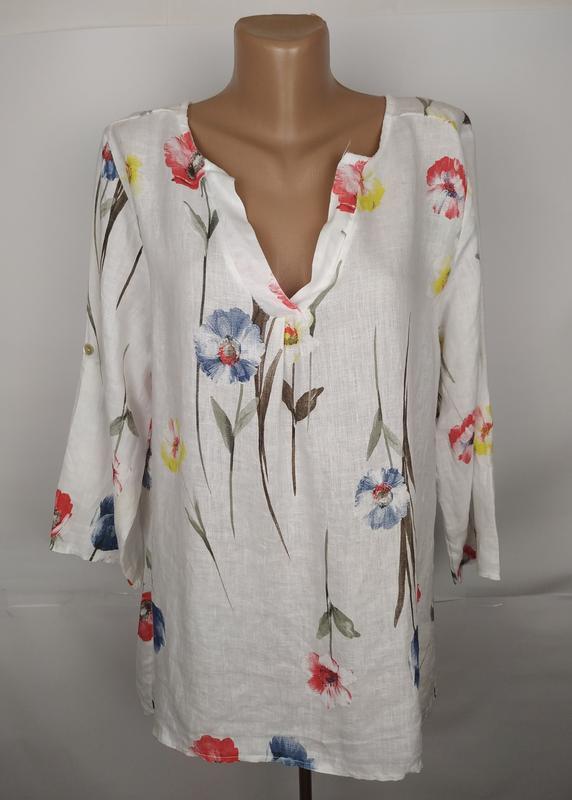 Блуза красивая в маки льняная натуральная итальянская uk 14/42/l