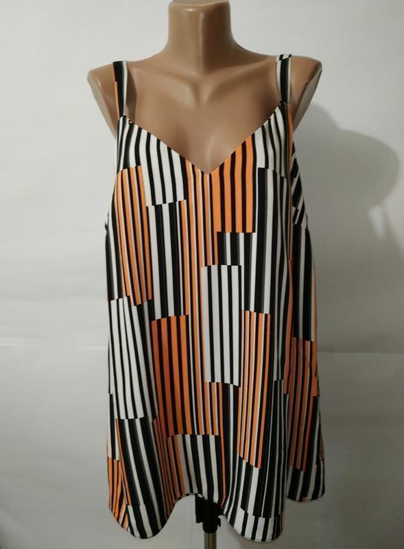 Блуза натуральная красивая в полоску геометрический принт боль...