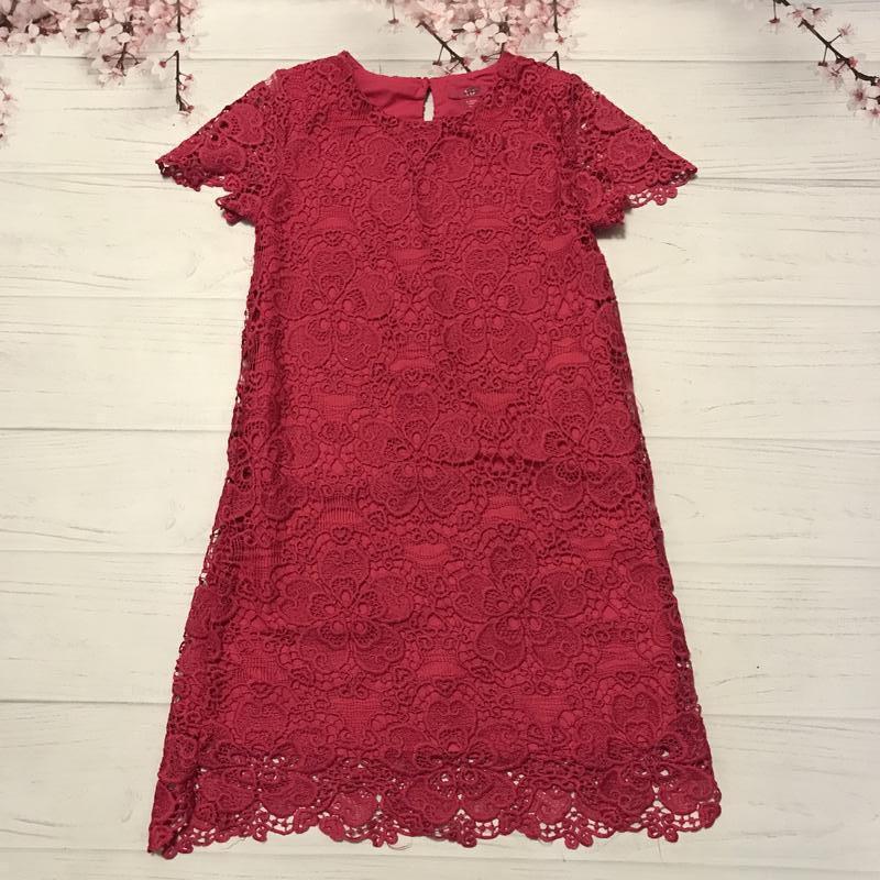 Платье нарядное кружевное малиновое