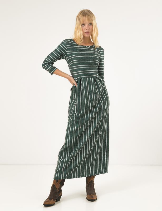 Стильное длинное полосатое платье season изумруд