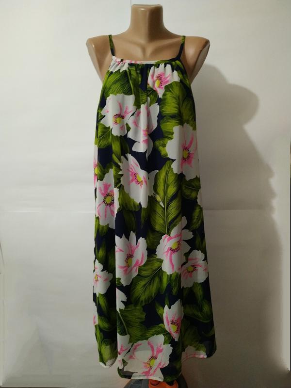 Платье зеленое красивенное в цветы большой размер uk 18/46/xxl