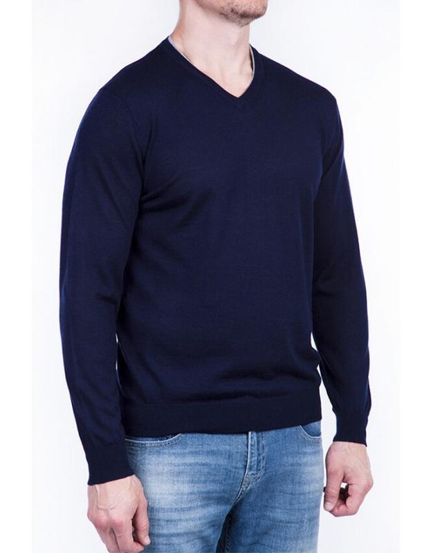 Шерстяной пуловер свитер джемпер синий теплый medium