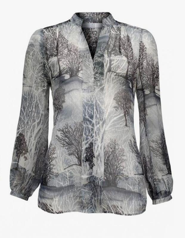 Шифоновая блузка с майкой принт деревья tu