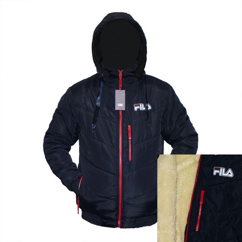 Зимняя куртка мужская логтип fila на овчине под резинку 50-58р