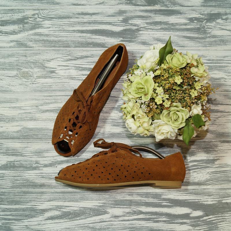 🌿39🌿dena&ozzu. замша. комфортные туфли, мокасины с перфорацией...
