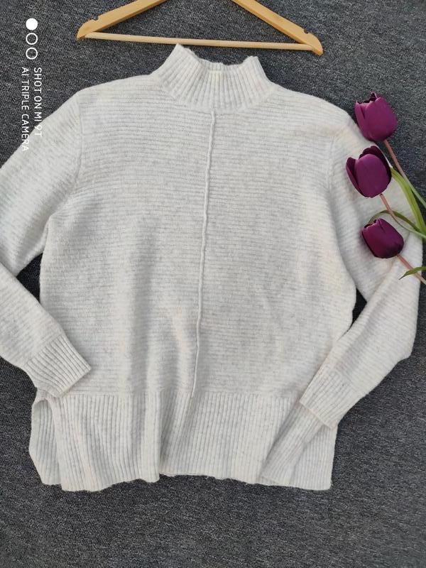 Теплый свитер большого размера с разрезами по бокам раз xxl-3xl