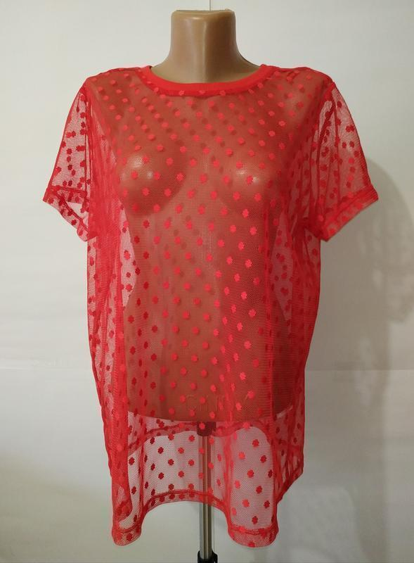 Новая красная блуза сеточка f&f uk 18/46/xxl