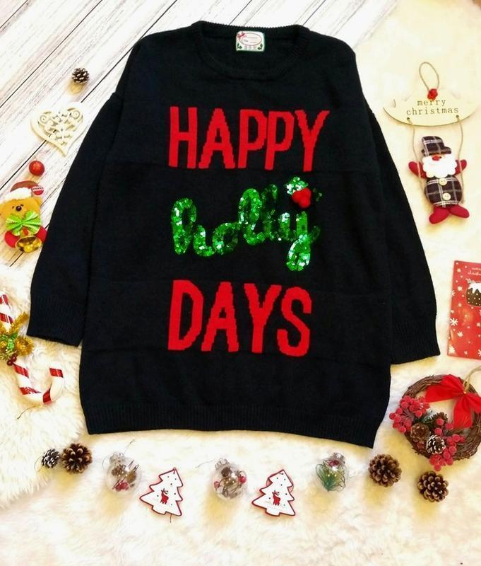 Новогодний, рождественский свитер-платье в пайетки размер 20-2...