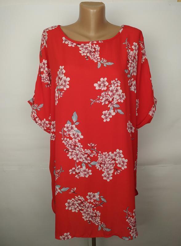 Блуза красивая легкая в цветы большой размер uk 22/50/4xl