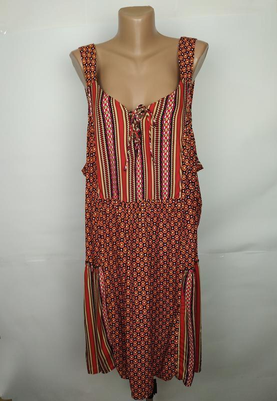 Платье новое натуральное в орнамент большой размер tu uk 24/52...