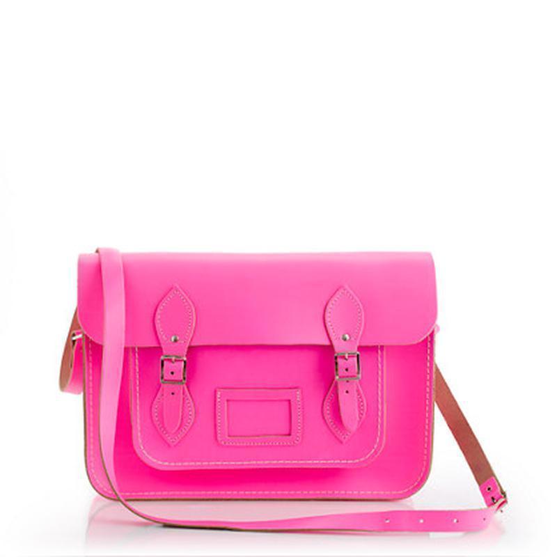 Розовая кожаная сумка портфель на застежках длинная ручка кожз...
