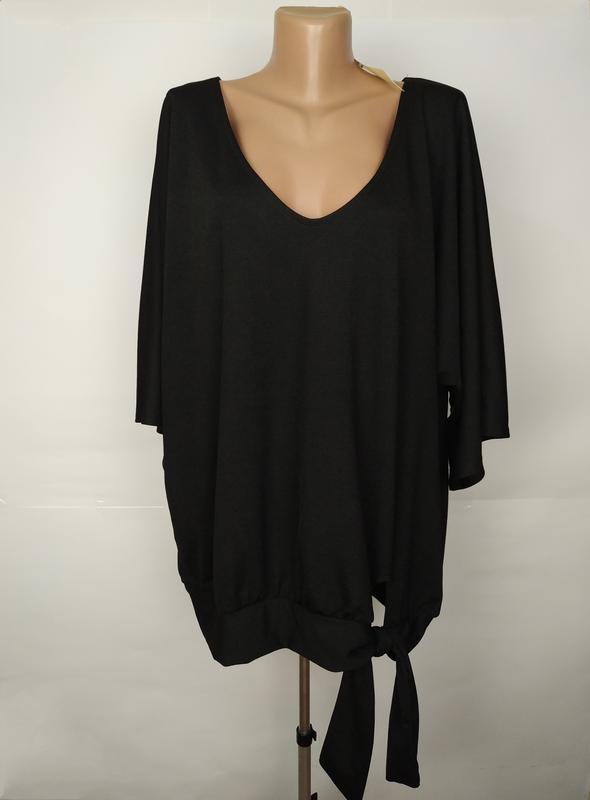 Блуза новая черная шикарная большого размера uk 18/46/xxl