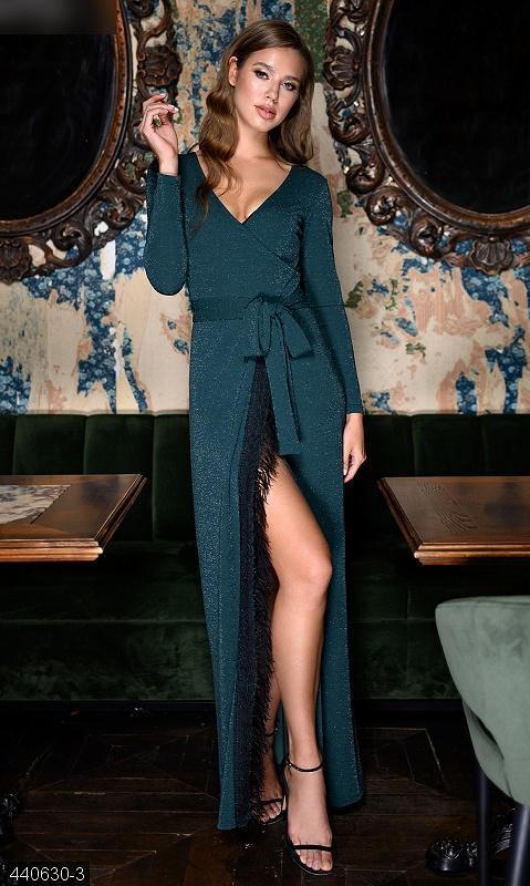 Вечернее длинное макси платье имитация запаха люрекс разные цвета