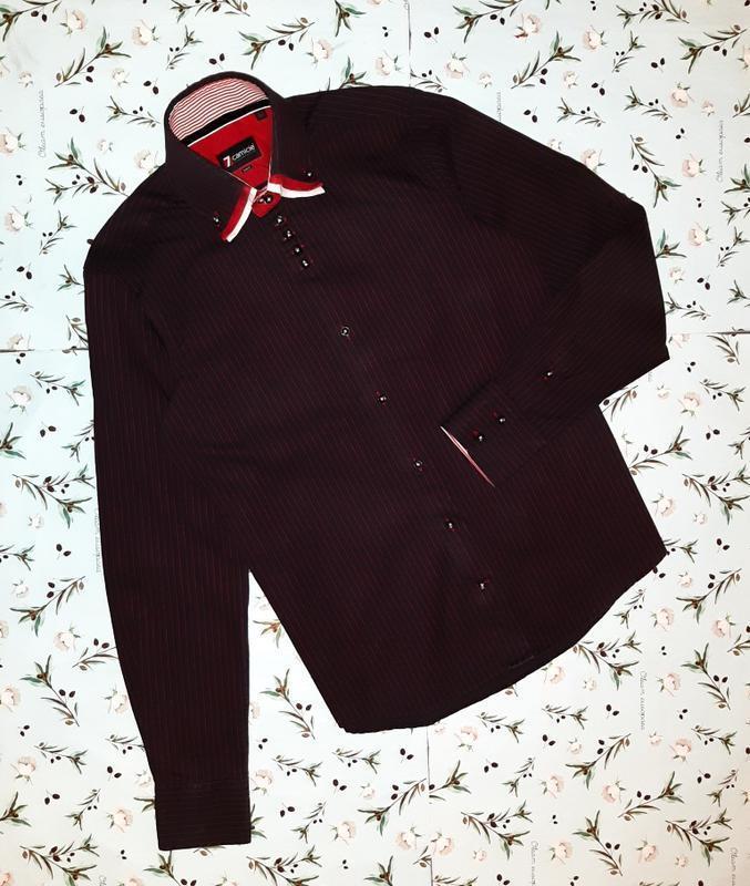 🎁1+1=3 фирменная черная рубашка в красную полоску 7camicie, хл...