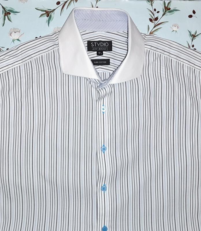 🎁1+1=3 белая рубашка в полоску jaff banks из мягкого хлопка, р...