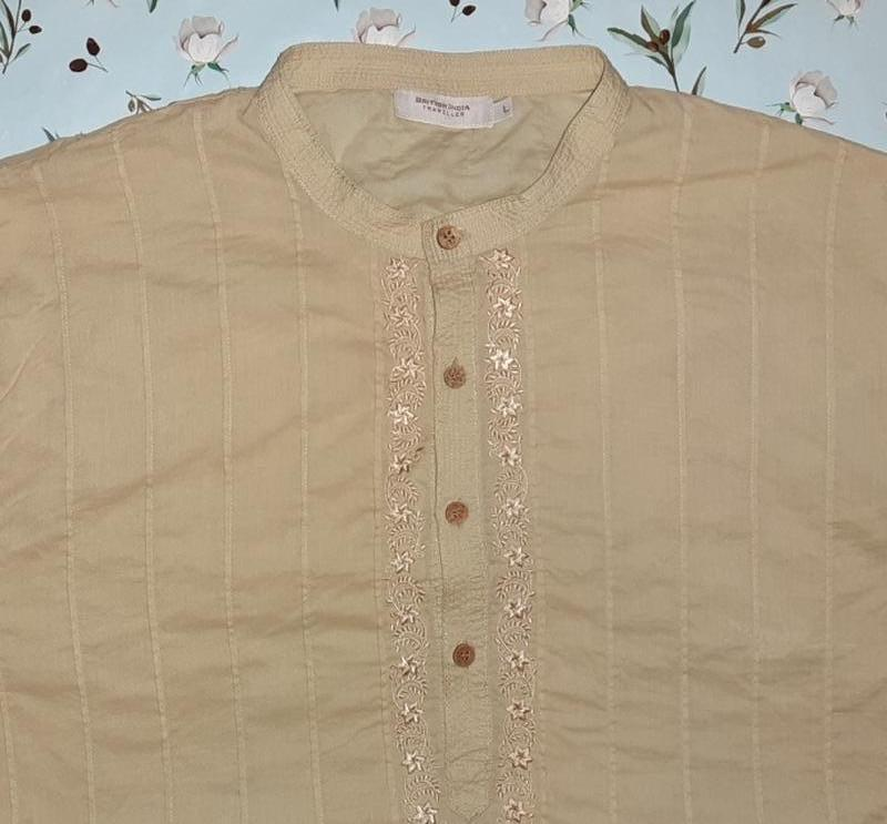 🎁1+1=3 стильная мужская рубашка вышиванка беж british india, р...