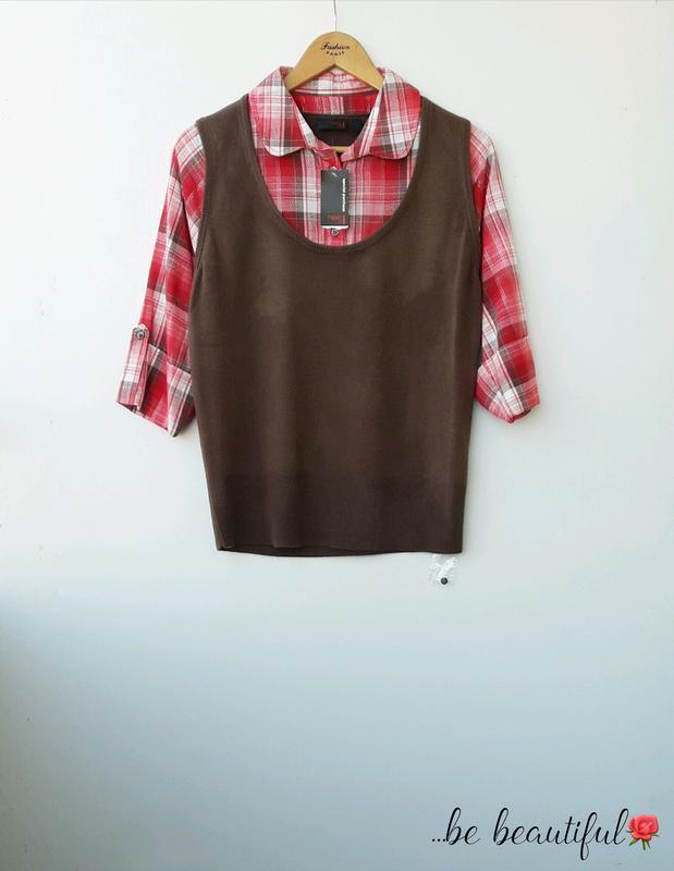 Красивая кофта жилетка с рyбашкой в клетку джемпер с рубашкой xl