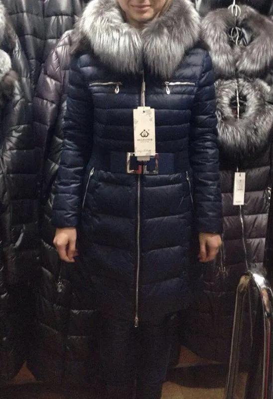 Зимний пуховик пальто с чернобуркой