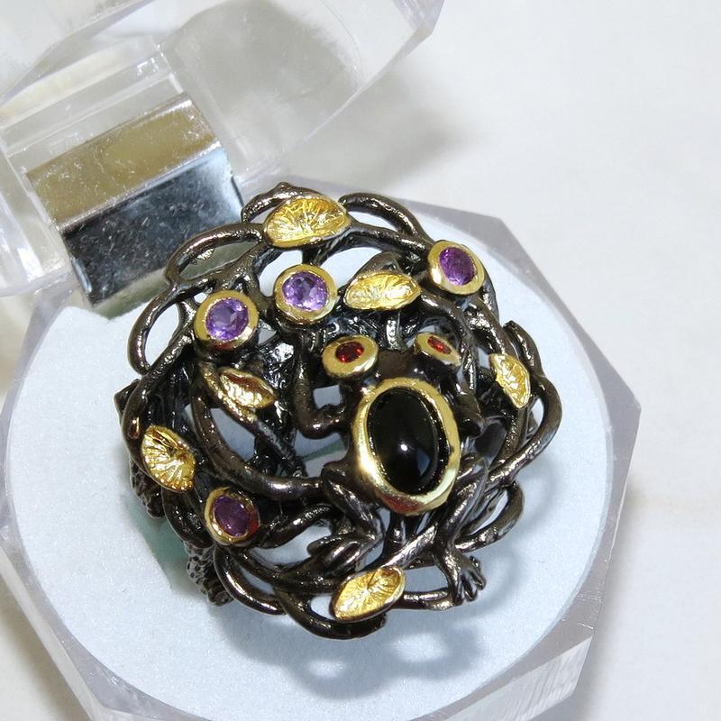 Кольцо со шпинелью жабка, серебро 925, р.18 и больше