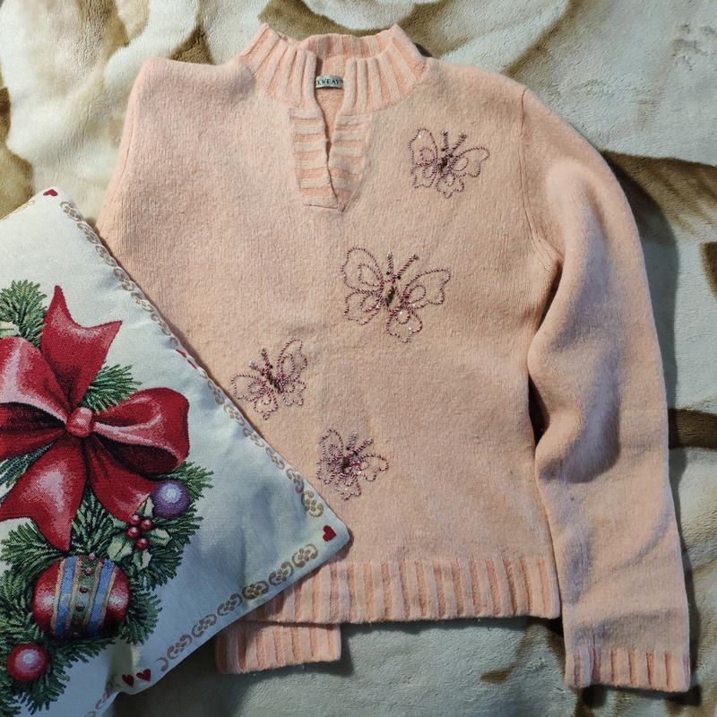 Женский теплый плотный шерстяной свитер кофта джемпер ангоровы...
