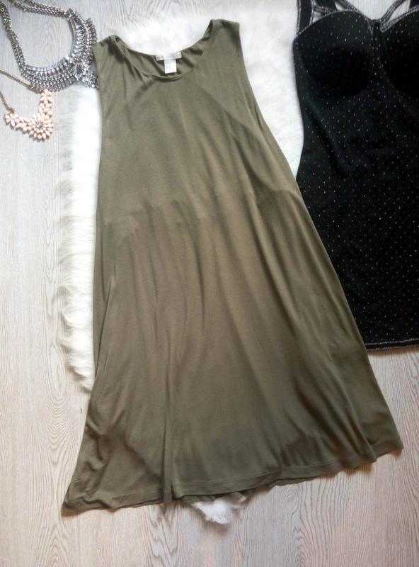 Натуральное свободное платье хаки трапеция стрейч с карманами ...