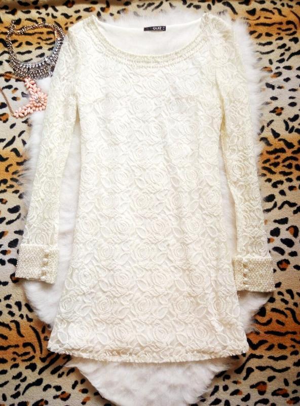 Белое ажурное платье с жемчугом бусинки гипюр секси в обтяжку ...