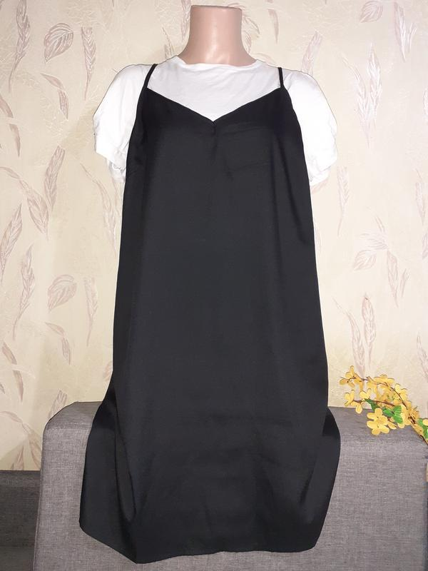 Черное платье/сарафан в бельевом стиле