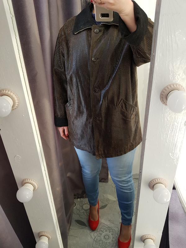 Кожаная отеплённая куртка