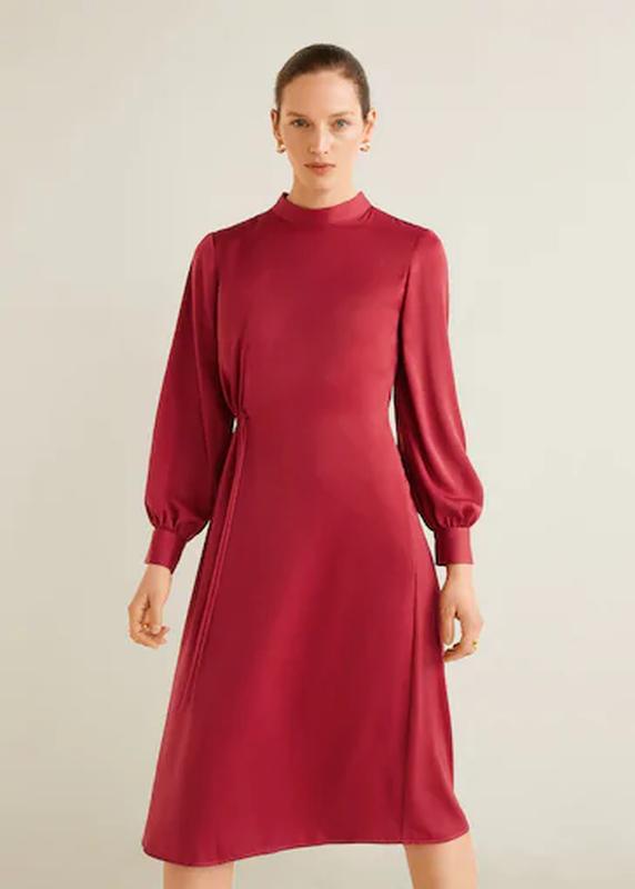 Сатиновое платье миди от mango