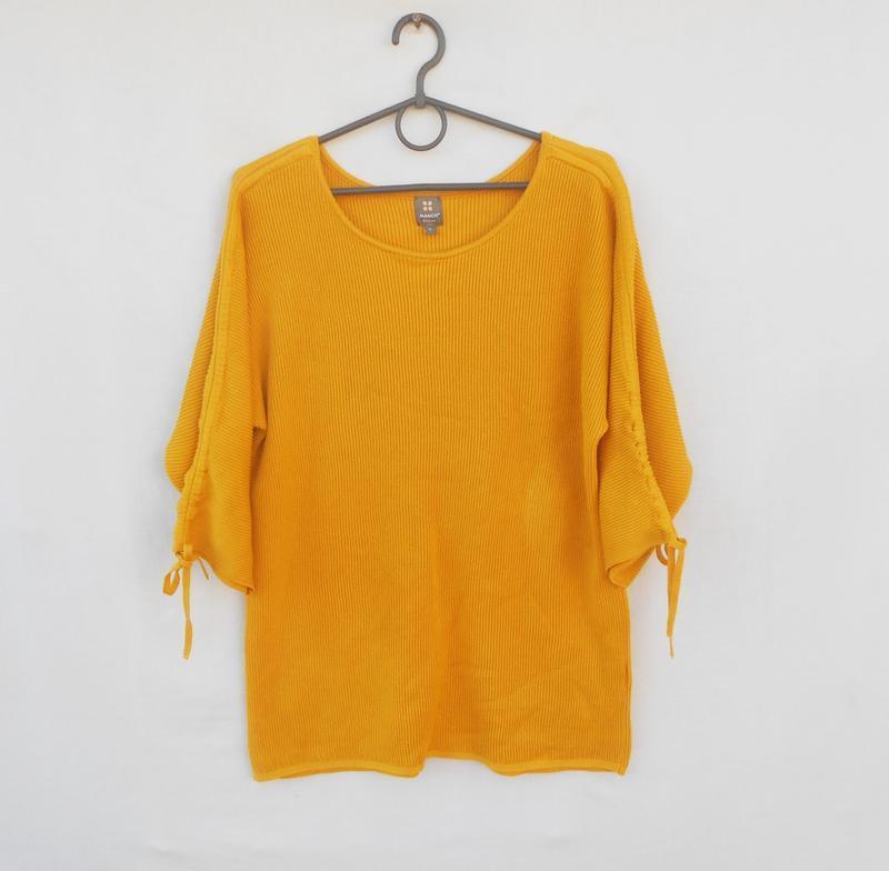 Осенный зимний трикотажный хлопковый джемпер  свитер свитшот с...