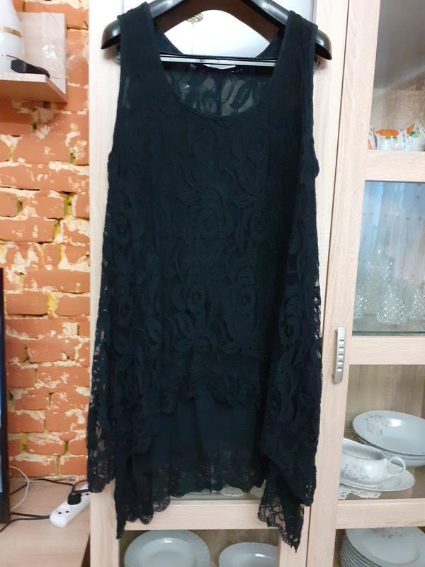 Двухслойное натуральное кружевное платье большого размера