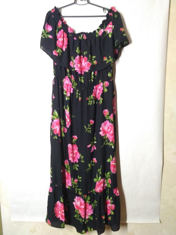 Платье сарафан в цветы макси с воланами открыте спущенные плечи