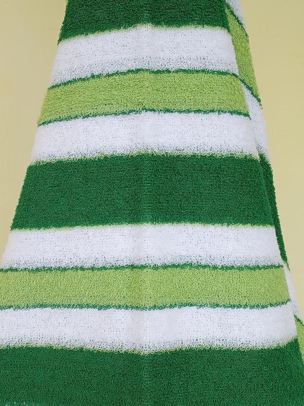 Махровое полотенце 100*50 зеленое с белым - Фото 2