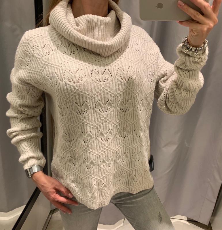 Тёплый бежевый свитер с горлом кофта reserved есть размеры