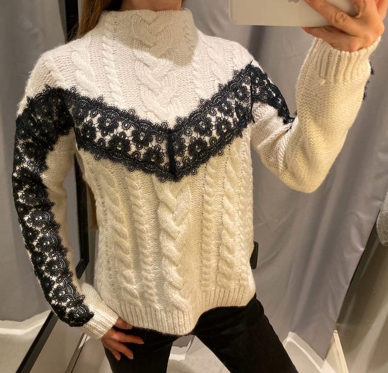 Тёплый свитер с кружевом кофта reserved есть размеры