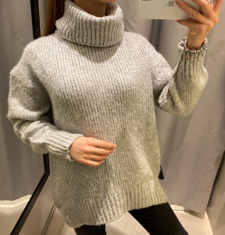 Серый свитер под горло пуловер кофта reserved есть размеры