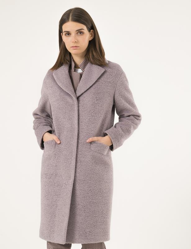 Зимнее пальто на утеплителе season альпака лиловое