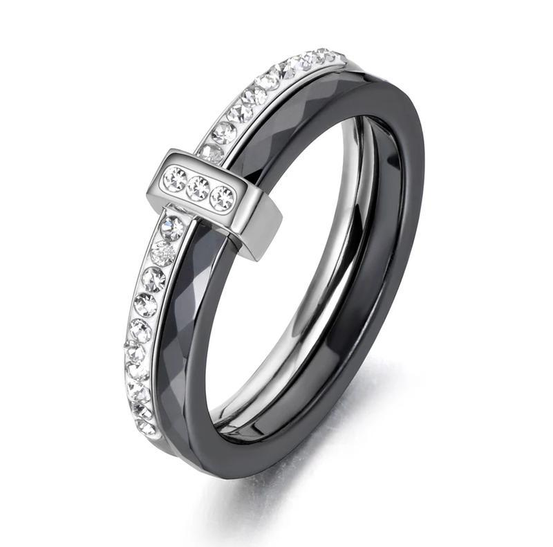 Женское двойное керамическое кольцо чёрное с камнями из циркон...