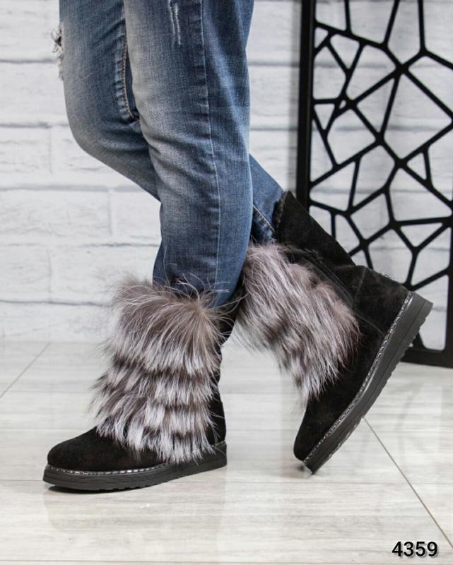 ❤ женские черные зимние замшевые угги ботинки сапоги ботильоны...