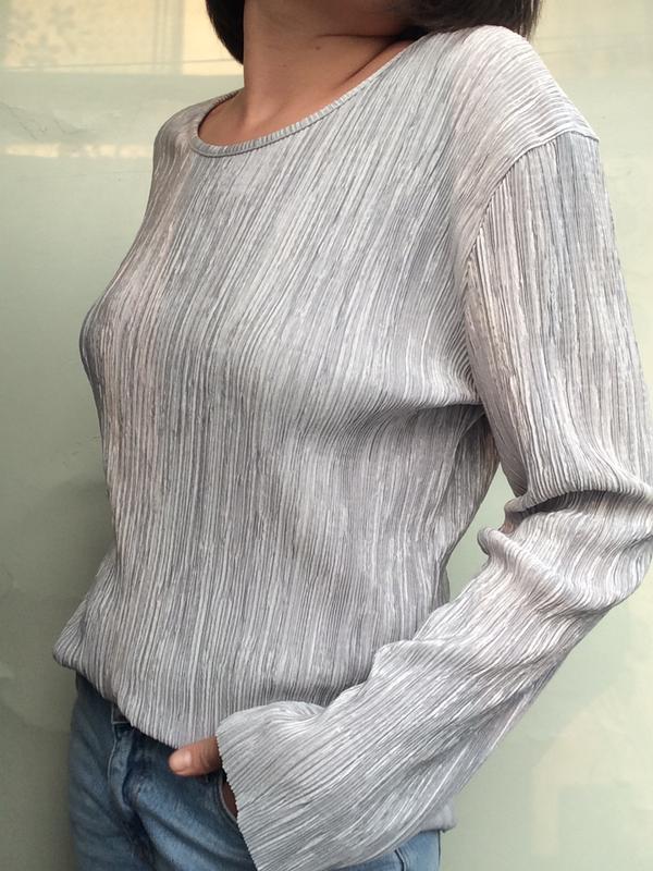 Серый/серебристый фактурный топ/лонгслив/свитер