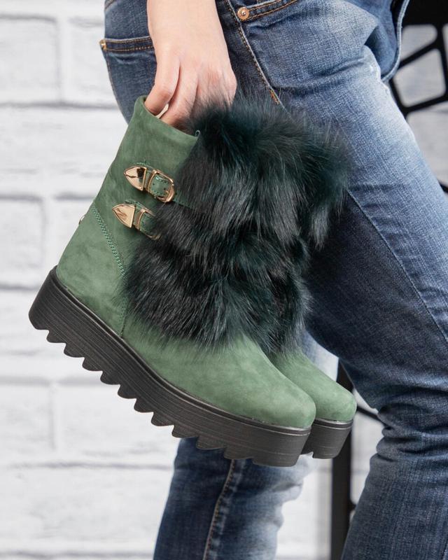 ❤ женские хаки зимние замшевые ботинки сапоги ботильоны на шер...