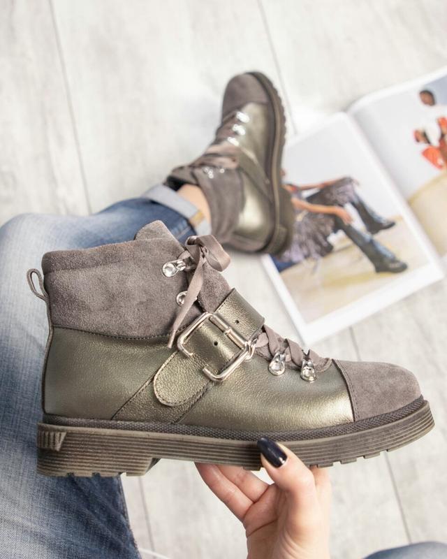 ❤ женские коричневые зимние замшевые ботинки сапоги ботильоны ...