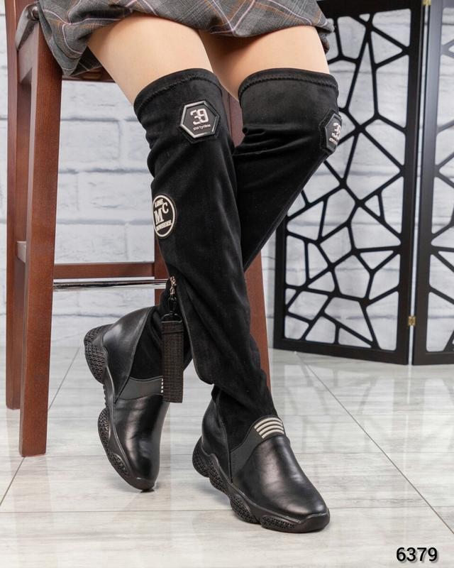 ❤ женские черные зимние кожаные высокие сапоги  ботфорты ботил...