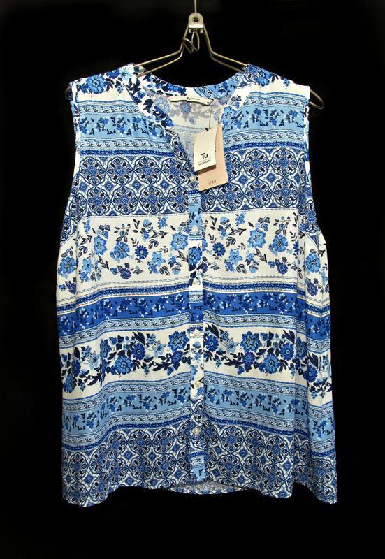 Красивая блузка-майка на пуговичках в сине-белых тонах р.16